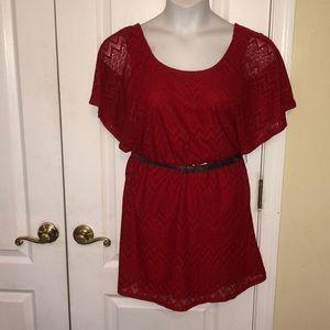 MyMichelle junior red chevron tunic dress Large